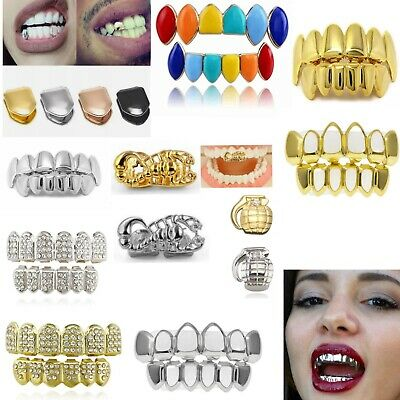 £5.99 • Buy 2021 Tooth HIP HOP Grills Teeth Cap 24K Plated Top Bottom Grill Punk Bling UK