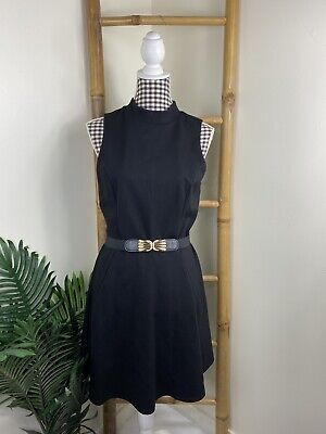 AU34 • Buy Forever New Black Dress Size 14 Fit N Flare High Neck Casual Cocktail Viscose