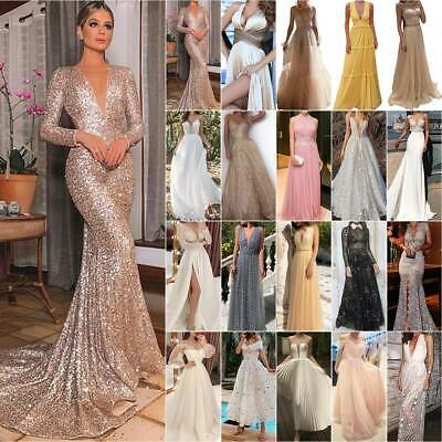 AU24.31 • Buy Women Formal Wedding Evening Party Cocktail Prom Bridesmaid Ball Gown Maxi Dress