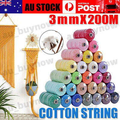 AU12.50 • Buy 3mm 200M Natural Cotton Twisted Cord Craft Macrame Artisan Rope Weaving Wire AU