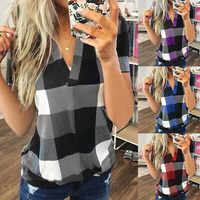 £10.59 • Buy Plus Size Womens V Neck Loose Tops Blouse Ladies Plaid Check Summer T Shirts UK