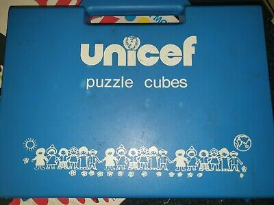 $ CDN17.14 • Buy 90 RARE Vintage UNICEF Toddler Cube Puzzle COMPLETE With Original Carry Case