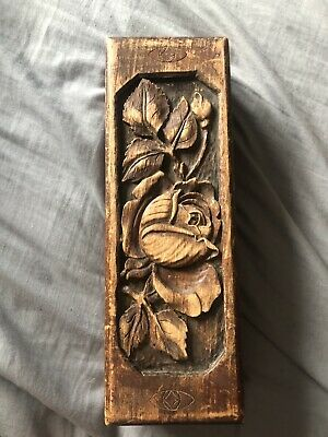 £20 • Buy Antique Wooden Box With Rose Carving On The Lid And Woiden Pogs Inside