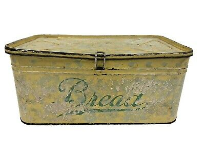 $24.99 • Buy Vintage YELLOW TIN BREAD BOX Country Kitchen Farm Decor Metal Container Canister