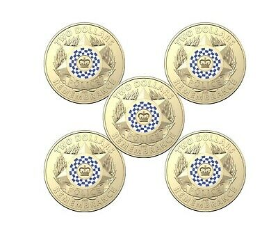 AU10.50 • Buy 2019 $2 Dollar Coloured Coins POLICE REMEMBRANCE - RAM SACHET OF 5 Coins