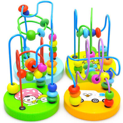 £7.99 • Buy Baby Kids Wooden Beads Interactive Early Educational Puzzle Maze Funny Toys UK