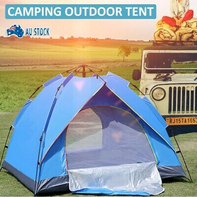 AU39.99 • Buy 3-4 Man Persons Automatic Pop Up Tent Camping Outdoor Hiking Waterproof Fishing