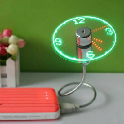 AU22.69 • Buy USB Portable Fan Flexible LED Clock Cool For Laptop PC Notebook Real Time