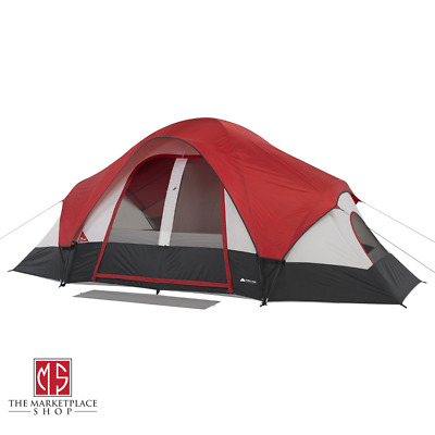 AU164.77 • Buy 8-Person Family Dome Tent W/ Rear Window 2-Rooms Camping Cabin Mud Mat Attached
