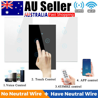 AU29.89 • Buy Smart WiFi Touch Light Switch 1/2/3/4 Glass Panel For Google Alexa AU Approved