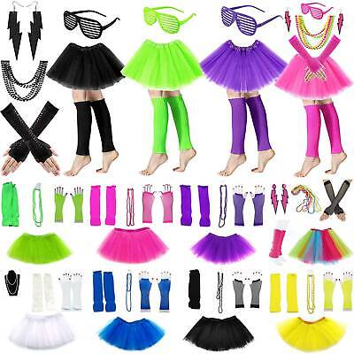 AU19.66 • Buy Women's 80s Tutu Skirt Fishnet Gloves Leg Warmers Necklace Party Dancing Costume