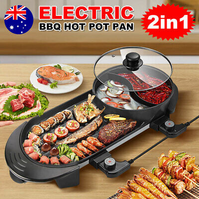 AU65.95 • Buy 2 In 1 Electric Hotpot BBQ Oven Smokeless Pan Grill Hot Pot Barbecue Machine AU