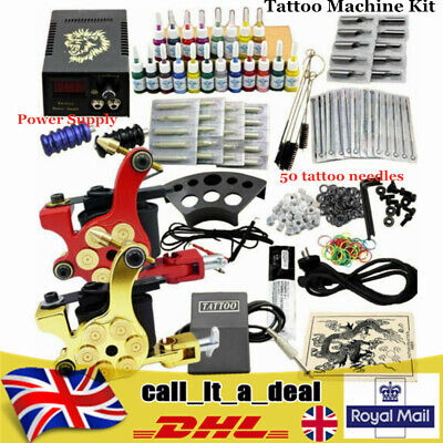 £48.02 • Buy Complete Starter Tattoo Machine Kit Power Supply Needle Grip Tips For Beginners