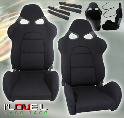 $394.99 • Buy 1 Pair Fully Reclainable Racing Black Cloth Seats Drag Time Attack With Sliders