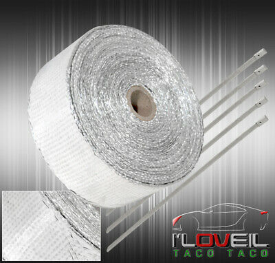$20.99 • Buy 360 /30Ft Turbo Super Charge Manifold Heat Reduction Wrap Shield +Zip Tie Silver