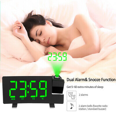 AU33.99 • Buy Smart Digital LED Projection Alarm Clock  FM Radio Alarm Snooze Dimmable✨