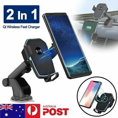 AU20.91 • Buy Wireless Car Charger Mount Holder 2 In 1 Fast Charging For Qi Enabled Cell Phone