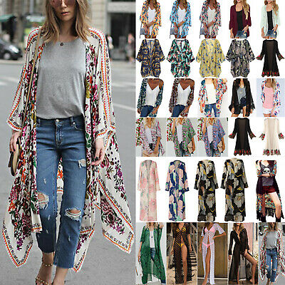 AU19.37 • Buy Women Boho Floral Kimono Cardigan Summer Holiday Top Gypsy Blouse Beach Cover Up