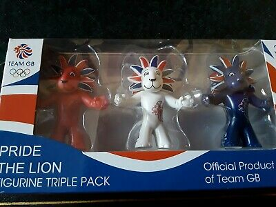 PRIDE THE LION Official TEAM GB LONDON 2012 OLYMPIC & Figurine Triple Pack. • 4.99£