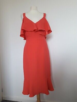 £24.99 • Buy Monsoon Coral Peach Cold-shoulder Ruffle Detail Summer Occasion Dress Sz 12