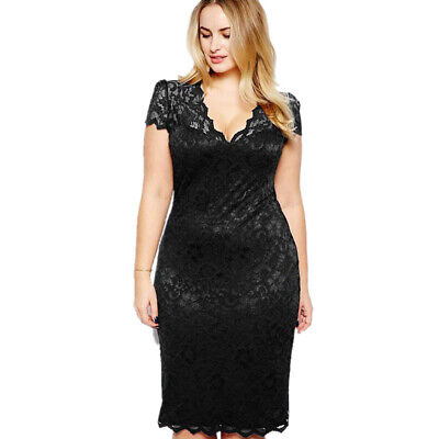 AU21.19 • Buy Women Elegant Stretch Bodycon Sheath Lace Midi Dresses Party Evening Plus Size