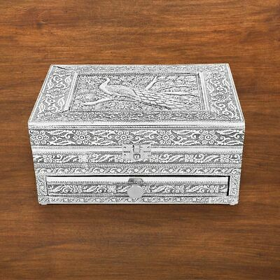 £19.89 • Buy Handcrafted Oxidized Jewelry Box With Drawer Chest, Peacock Design