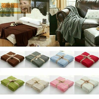 £19.99 • Buy Home Décor Classic 100% Cotton Knit Knitted Throw Blanket Cable Knitting Pattern