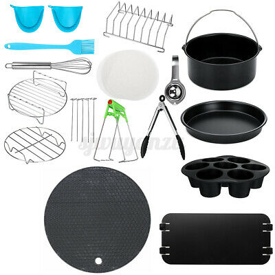 AU23.55 • Buy 8 Inch Air Fryer Accessories Frying Cage Dish Baking Pan Rack Pizza Tray Pot AU