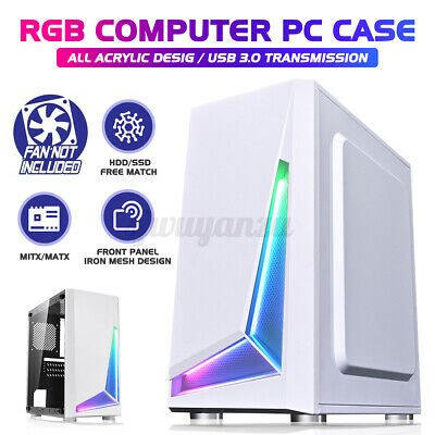 AU57.51 • Buy PC Gaming Computer Case Tempered Glass Micro-ATX Mini-ITX RGB Desktop Tower