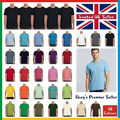 5 PACK X Gildan Softstyle T-Shirt • Mens Plain Tee • Standard Blank GD01 T Shirt • 15.92£