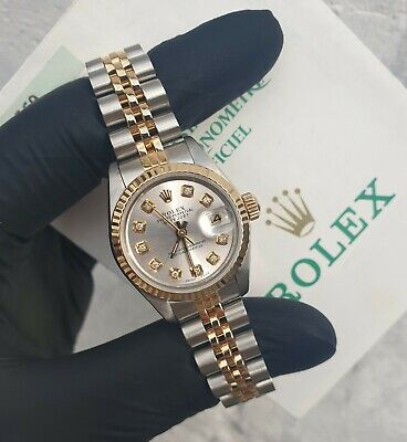 $ CDN6392.17 • Buy Ladies Rolex Datejust In 18ct Gold & Steel, Silver Diamond Dial - Rolex Papers!
