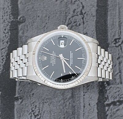 $ CDN7010.46 • Buy MINT Mens Rolex Datejust 16234 In Steel And 18ct White Gold - Black Dial.
