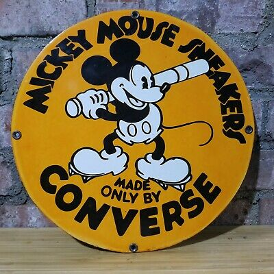 $ CDN29.37 • Buy Vintage Mickey Mouse Converse Shoes Porcelain Disney Advertising Sign