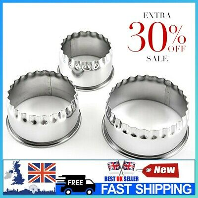 £5.43 • Buy 3PCS/SET Stainless Steel Plain Crinkle Scone Pastry Quiche Tart Cookie Cutter UK