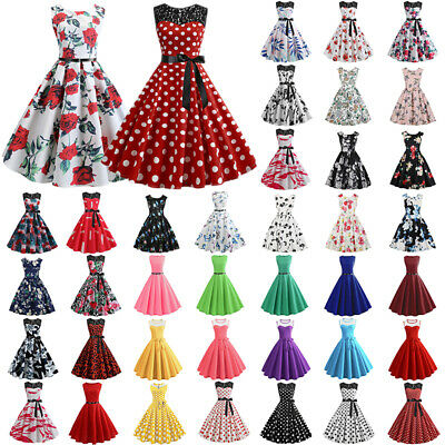 AU22.39 • Buy Women Vintage Retro Printed Swing Rockabilly Dress Cocktail 1950s 60s Party Prom