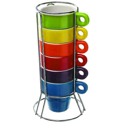 £13.35 • Buy Coffee Cup Set Stackable Espresso Mugs Ceramic 60ml + Stand Cups X 6