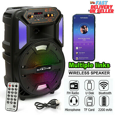 £29.99 • Buy Portable 8  Bluetooth Speaker Wireless Heavy Bass With FM Radio TF Card Party