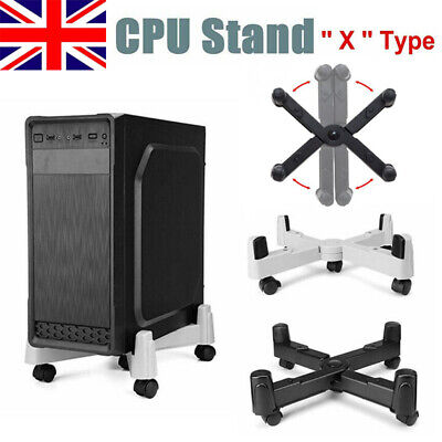 £18.20 • Buy PC Computer Adjustable Cpu Stand Abs Plastic Tower Case Holder W/ Castors Wheels
