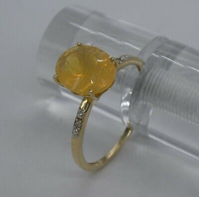 £225 • Buy Gorgeous Mexican Fire Opal, Diamond & 9ct Gold Ring  Size V (10 1/2)   2.6g