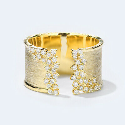 £1.78 • Buy 18k Yellow Gold Plated Rings Elegant White Sapphire Women Jewelry Ring Size 6-10