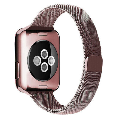 AU19.95 • Buy Rose Pink Slim Milanese Magnetic Band For Apple Watch (38mm, 40mm) Series 1/2/3/