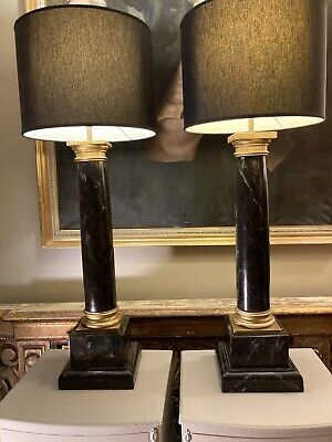 £450 • Buy Exceptional Pair On Mid Century Faux Marble Classical Column Table Lamps