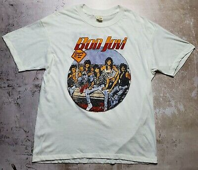 £305.01 • Buy Vtg 80s Bon Jovi Slippery When Wet Tour T-Shirt  You Give Love A Bad Name  Band