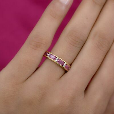 £19.99 • Buy Pink Ruby, Zircon Half Eternity Band Ring For Women Gold Plated Silver 3.2ct