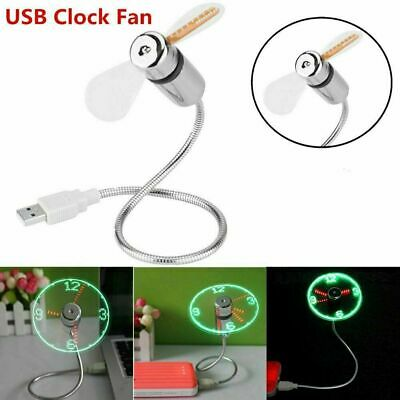 AU18.68 • Buy Mini USB LED Clock Real Time Temperature Display Summer Cooling Fan For Laptop