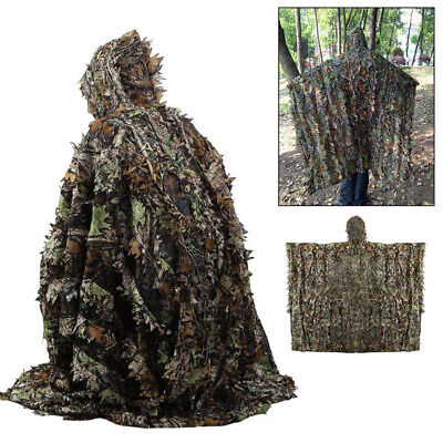 3D Camouflage Ghillie Suit Leaf Poncho Stealth Cloak Jungle Hunting Camo Clothe • 18.99£