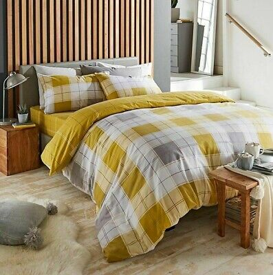 £17.99 • Buy Chelsea Check Brushed Cotton Duvet Covers Reversible Bedding Sets Single/Double