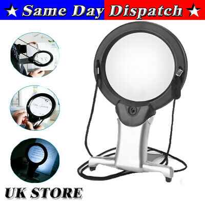 £6.66 • Buy 6X Large Magnifying Glass With Light Led Lamp Giant Magnifier Reading Hands Free