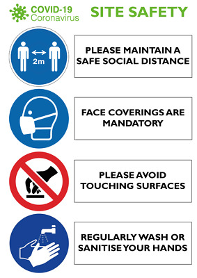 £2.99 • Buy 6 Pack A5 Posters Signs Health & Safety Social Distance 1covid9 Personalised