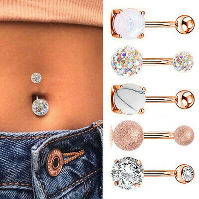 £6.90 • Buy 5PCS Belly Button Rings Navel Bars Surgical Steel Stone Body Piercing Jewellery